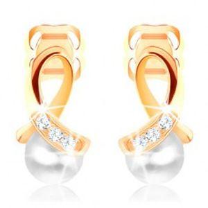 Náušnice ve žlutém 14K zlatě - lesklá smyčka zdobená diamanty, kulatá perla BT502.07
