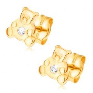 Náušnice ve žlutém 14K zlatě - malý sedící medvídek, čirý zirkon GG21.15