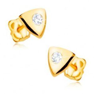 Náušnice ve žlutém 9K zlatě - lesklý rovnostranný trojúhelník, čirý zirkon  GG31.07
