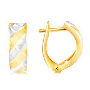 Náušnice ve 14K zlatě - matné pásy ve žlutém a bílém zlatě, blýskavé zářezy