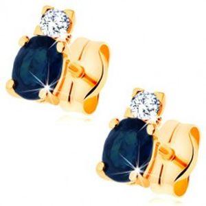 Náušnice ve žlutém 14K zlatě - zářivý čirý diamant a oválný modrý safír BT501.06