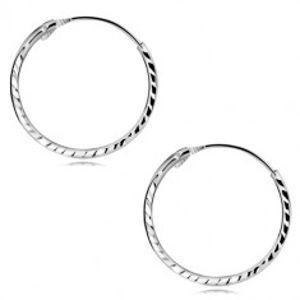 Náušnice z bílého zlata 375 - úzké kroužky se šikmými zářezy GG51.50
