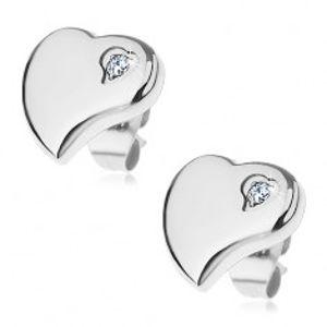 Náušnice z chirurgické oceli - asymetrické srdce se zirkonkem X02.14