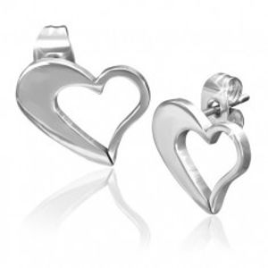 Náušnice z chirurgické oceli - nepravidelný obrys srdce stříbrné barvy S24.09