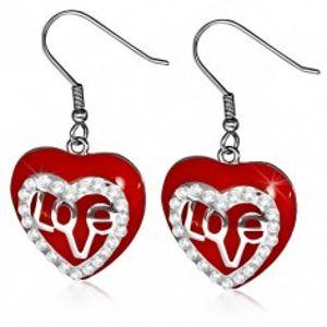 Náušnice z chirurgické oceli - visací červené srdce, čiré zirkony S32.17