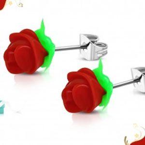 Náušnice z chirurgické oceli, červená silikonová růžička, zelené lístky SP32.06