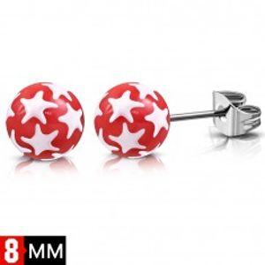 Náušnice z chirurgické oceli, červené kuličky s bílými hvězdami SP63.30