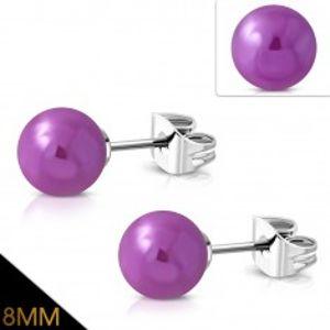 Náušnice z chirurgické oceli, fialové kuličky s metalickým leskem SP30.30