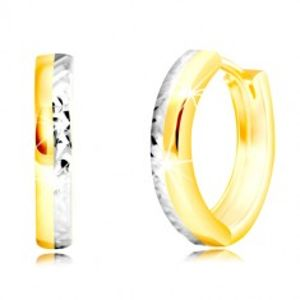 Náušnice z kombinovaného zlata 585 - úzký kruh s vybroušenou polovinou GG219.07