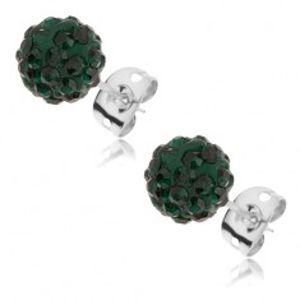 Náušnice z oceli 316L - smaragdově zelené kuličky se zirkony, 8 mm SP41.19