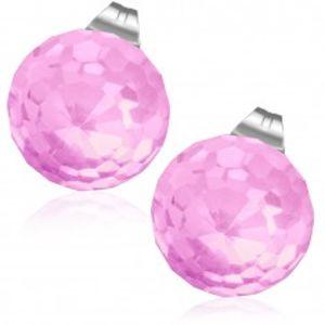 Náušnice z oceli, světle růžová vybroušená skleněná kulička V03.22