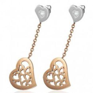 Náušnice z chirurgické oceli, visící srdce s výřezy v měděném odstínu X03.20