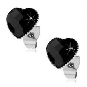 Náušnice z oceli 316L, černé broušené srdíčko lemované drobnými zářezy X02.16