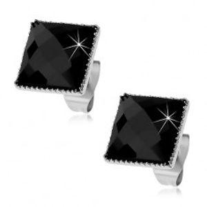 Náušnice z oceli 316L, černý broušený čtverec lemovaný drobnými zářezy X04.01