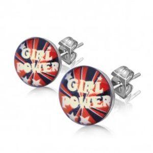 """Náušnice z oceli, text """"Girl Power"""" a hvězdičky AA16.02"""