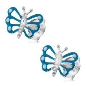 Náušnice ze stříbra 925, motýl s modrými křídly a patinovaným tělem PC24.10