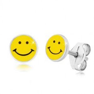 Náušnice ze stříbra 925 - usmívající se smajlík, černo-žlutá glazura, puzetky S42.30