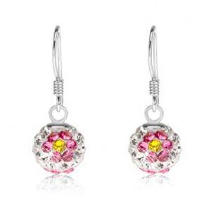 Náušnice ze stříbra 925, bílé kuličky, květy z růžovo-žlutých krystalů, 8 mm SP85.17