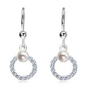 Náušnice ze stříbra 925, čirý zirkonový kroužek s bílou perlou SP03.09