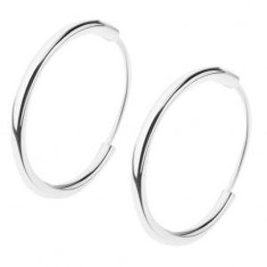 Náušnice ze stříbra 925, lesklý hladký kroužek, různé velikosti I34.13/15