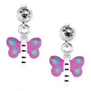 Náušnice ze stříbra 925, motýl s fialovo-modrými křídly a bílým tělem PC24.07