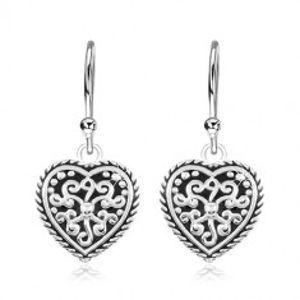 Náušnice ze stříbra 925, srdce s patinou a ornamenty SP84.13