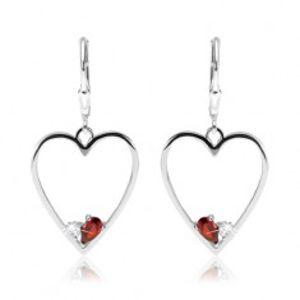 Náušnice ze stříbra 925, symetrický obrys srdce, červený a čirý zirkon SP43.14