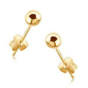 Náušnice ze zlata 14K - lesklé hladké kuličky na puzetce GG05.19