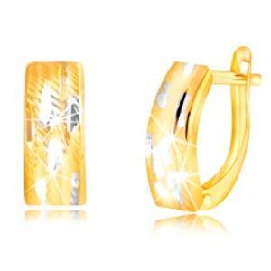 Náušnice ze zlata 585 - lesklý dvoubarevný oblouk se zářezy GG218.27
