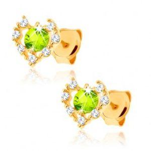Náušnice ze žlutého 14K zlata - čirý zirkonový obrys srdce, zelený olivín GG89.13