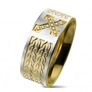Prsten z chirurgické oceli, kříž se zirkony, řetízkový vzor, 9 mm AB06.20