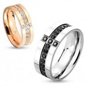 Prsten z chirurgické oceli stříbrné barvy, ozdobné linie z černých zirkonů, 8 mm M04.07