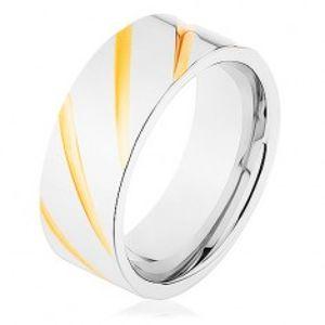 Prsten z oceli 316L, povrch stříbrné barvy, šikmé rýhy ve zlatém odstínu HH11.15