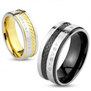 """Prsten z oceli stříbrno-zlaté barvy, šachovnicový vzor, """"Forever Love"""", 6 mm S74.17"""