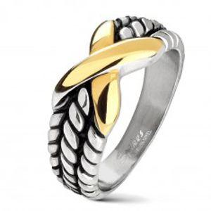 Ocelový prsten stříbrné barvy, zářezy na ramenech, X zlaté barvy AB10.08