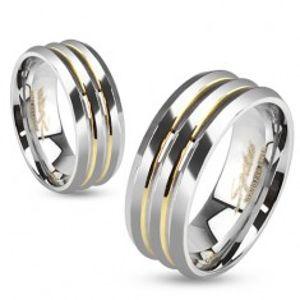 Ocelová obroučka, tři stříbrné pásy, zlaté prohlubně BB13.10