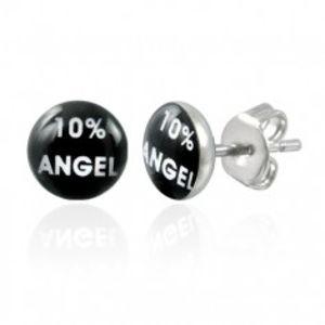 Ocelové náušnice, černý kruh s bílým nápisem 10% ANGEL X08.04