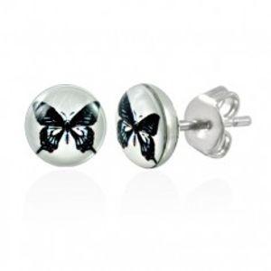 Ocelové náušnice - bílý kruh s černým motýlem, puzetky X12.16