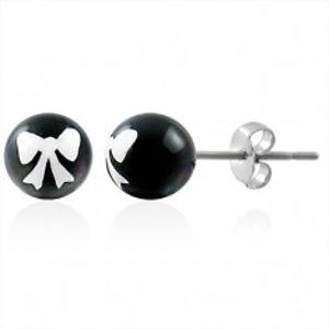 Ocelové náušnice, černá kulička s bílou mašličkou, puzetové zapínání AB27.11