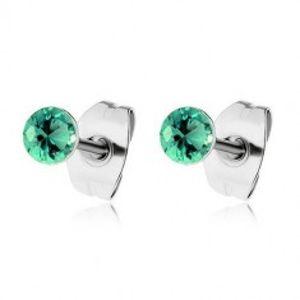 Ocelové náušnice, kulaté blýskavé zirkony v zeleném odstínu SP58.14