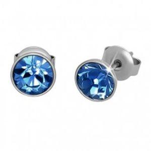 Ocelové náušnice, stříbrná barva, světle modrý kulatý zirkon, puzetky, 7 mm SP91.18