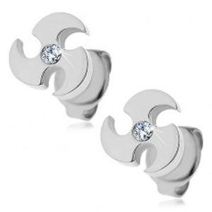 Ocelové náušnice stříbrné barvy - vrhací čepel, čirý zirkon X08.02