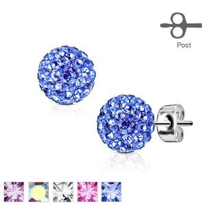 Ocelové náušnice stříbrné barvy - kulička ozdobená maličkými lesklými krystalky, 7 mm - Barva: Čirá