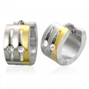 Ocelové náušnice stříbrné a zlaté barvy, čiré zirkony, svislé zářezy S85.19