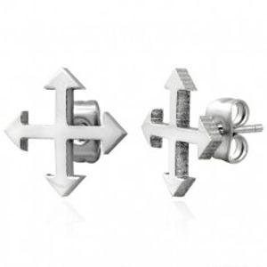 Ocelové náušnice ve stříbrném odstínu - čtyři světové strany X12.07