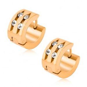 Ocelové náušnice zlaté barvy, dva žlábky se zasazenými kamínky Q22.12