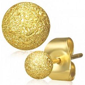 Ocelové náušnice zlaté barvy, kuličky s pískovaným povrchem, puzetky SP48.11
