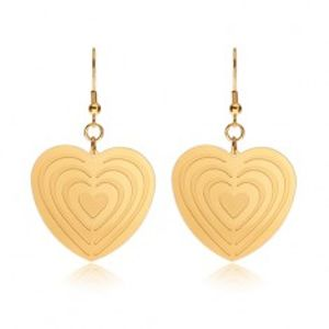 Ocelové náušnice zlaté barvy, symetrická srdce se zářezy S28.18