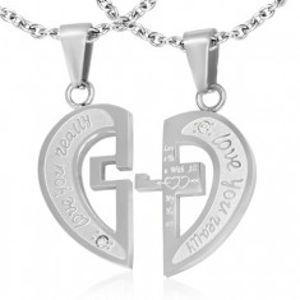 Ocelový dvojpřívěsek stříbrné barvy, rozpůlené srdce, nápisy, kříž, zirkony S59.12