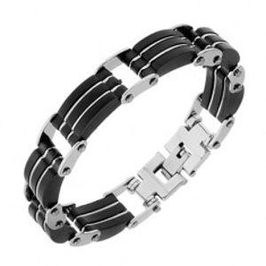 Ocelový náramek, trojité černé pryžové části, pásky stříbrné barvy S76.12